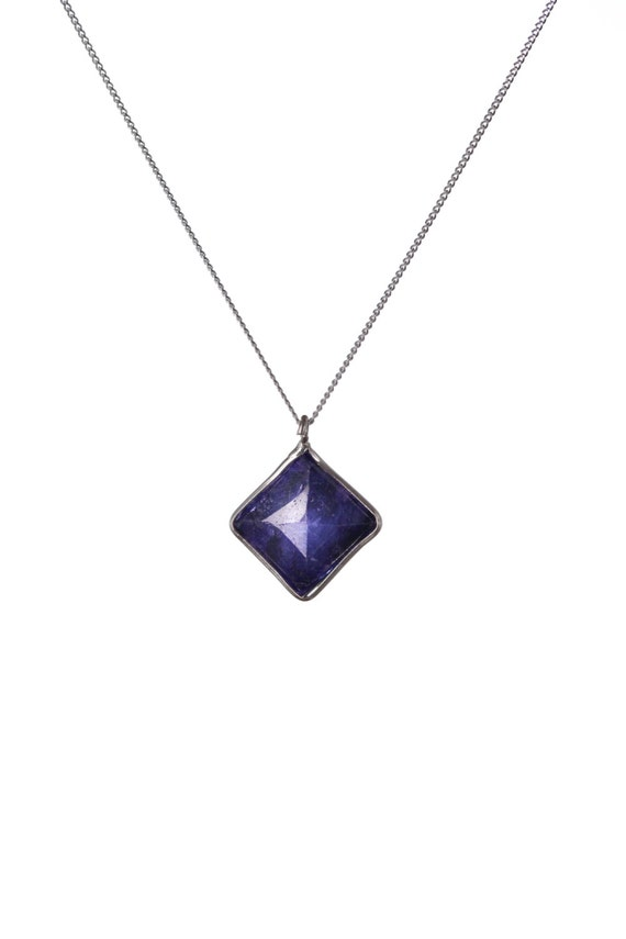 Lapis Lazuli Faceted Gemstone Pendant Dainty Necklace  Handmade, Simple Jewellery Gift box, Free UK Delivery