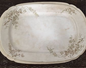 Antique Brown Transferware Platter Ironstone Mayer 'Lincoln' 1800
