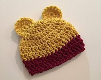 Crochet Newborn Bear Hat | Crochet Baby Hat | Crochet Hat | Hat With Ears | Crochet Newborn Hat | Winnie The Pooh Hat | Pooh Hat | Pooh Bear