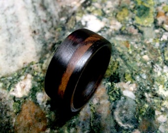 Bocote Ring with Black Carbon.  5- 12mm Wide.