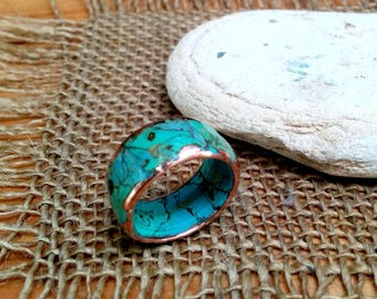 Marbled Turquoise Copper Ring.  Marbled Both Faces.  10mm Wide.