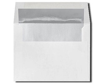 20 White with Shiny Silver Foil Lined Envelopes - Size A7 & A2
