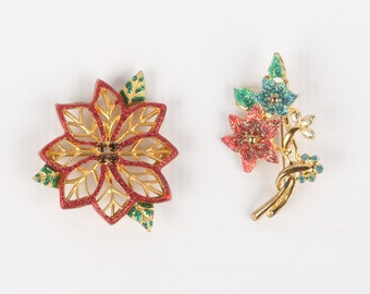1960's-70's Christmas Glitter Poinsettia Brooches (2), Gold Tone, Red Green Blue, Smokey Rhinestones,  Excellent Cond., Roll Over Clasps