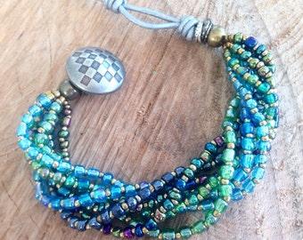 Blue gipsy bracelet, blue beaded bracelet, beaded  bracelet, talisman bracelet, gypsy talisman bracelet, blue boho bracelet