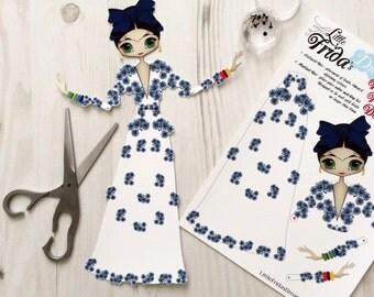 "Little Frida's Dream Articulated Paper Doll 12"" Tall (Flora Botanica Design 3)"