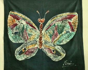 Butterfly Batik on Green