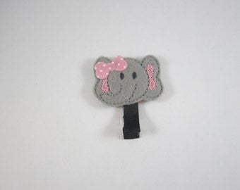 NEW elephant handmade felt embroidered hair clip