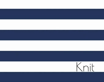 Navy and White one inch Stripe KNIT- Navy Blue and white wide stripes- Jersey KNIT stretch C/L fabric by Riley Blake Designs.