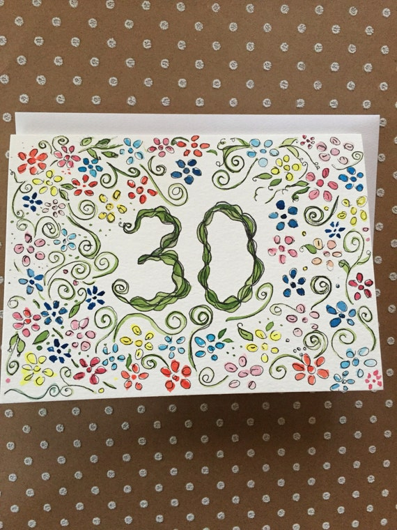 30th Birthday Card, Hand Painted Birthday Card, Homemade 30th Birthday Card