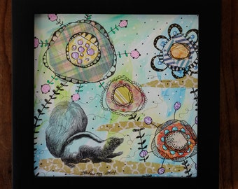 "You Can Call Me Flower-Framed 6x6"" Mixed Media Collage Painting, Skunk"