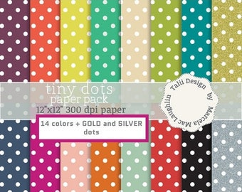 Digital Polka Dots Paper TINY DOTS- Colorful backgrounds with little white dots tiny points rainbow colors gold silver pattern party paper
