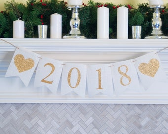 2018 New Year Party Decor, Gold 2018 Banner, 2018 Burlap Banner, New Year Banner, Happy New Year Banner, 2018 New Year Banner, B212