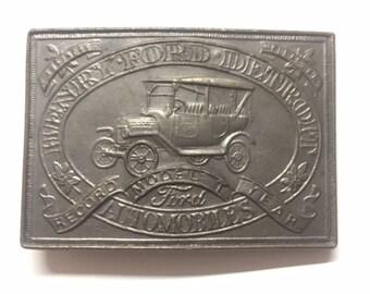 Ford Belt Buckle Vintage Brass Ford Motors Co Model T