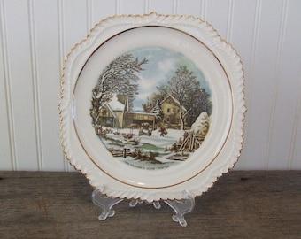 Currier & Ives The Farmer's Home Winter, Vintage Plate, Kitchen Plate, Kitchen Decor, The Farmer's Home, Farmer
