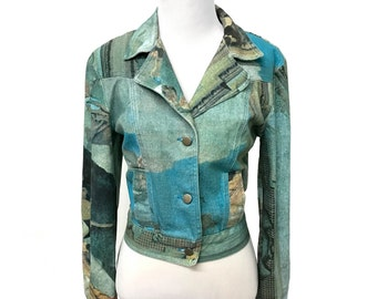 VINTAGE Graphic Denim Jacket Size Small