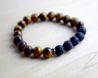 Tigers Eye Bracelet / Essential Oil Diffuser Bracelet / Meditation Bracelet / Yoga Bracelet / Genuine Gemstone Bracelet / Birthday Gift Idea
