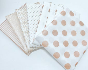 Fat Quarter Bundle Rose Gold by Riley Blake Designs- 6 Fabrics