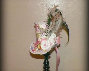 Pink Mini Top Hat Gothic Fascinator White  Steampunk   Gothic Cosplay Costume Bridal  Tea Part