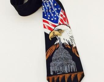 Naturalization USA  Men's Tie American Flag Bald Eagle Patriotic Necktie White House Memorabilia  Steven Harris US Capital Congress Patriot