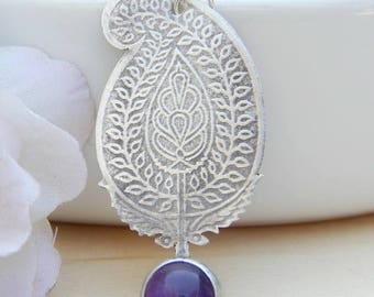 Sterling silver necklace, silver choker,silver pendant,etched silver,paisley,amethyst,leather,mother's day,handmade