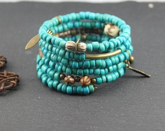 Cuff Bracelet ethnic memory multirank wrap, bronze and turquoise, beads coconut, Horn, wood, seeds, charms