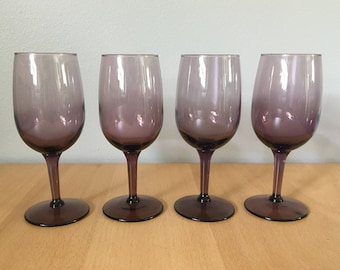 Lovely set of 4 vintage Libbey purple / plum / amethyst wine glasses - tapered stem round base for festive celebrations or relaxing dinners!
