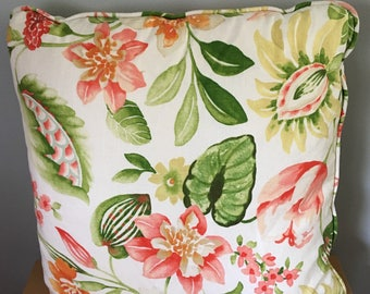 Retro throw pillow in heavy cotton / linen blend features green pink and yellow flowers for tropical Old Florida home!