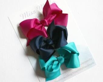 Boutique hair bow trio hair clips - Navy, Rasberry and Tornado