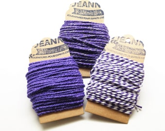 Kit 3 coupons cotton strings baker's twine, purple, purple and white, purple and metallic thread, 3 x 10 m