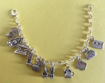 Retro Tibetan silver charm bracelet. Great gift for her .