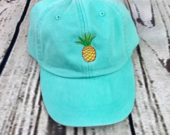 Pineapple hat, Pineapple baseball hat, Pineapple cap, Pigment dyed hat, Beach hat, Spring break hat, Hawaii hat, Aloha hat, Baseball cap