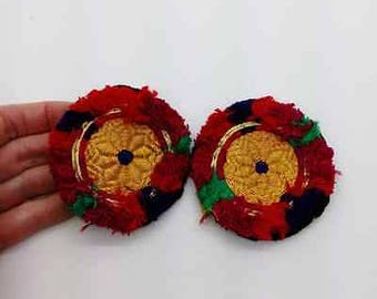 """2 Pretty Kuchi Gul Round Medallions Appliques Colorful Patch Fusion ATS 2.75"""""""