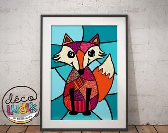 Fox print, illustration, art prints, 3d, fox, patchwork, 8,5''X11'', wall art, fox lover