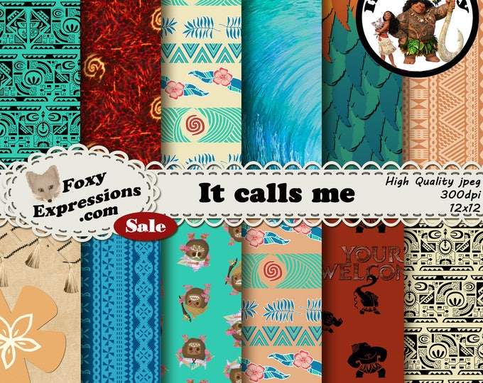 It Calls Me digital paper inspired by Moana comes with tapa cloth designs, heihei, ocean, your welcome maui, kakamora coconuts & Te Kā lava
