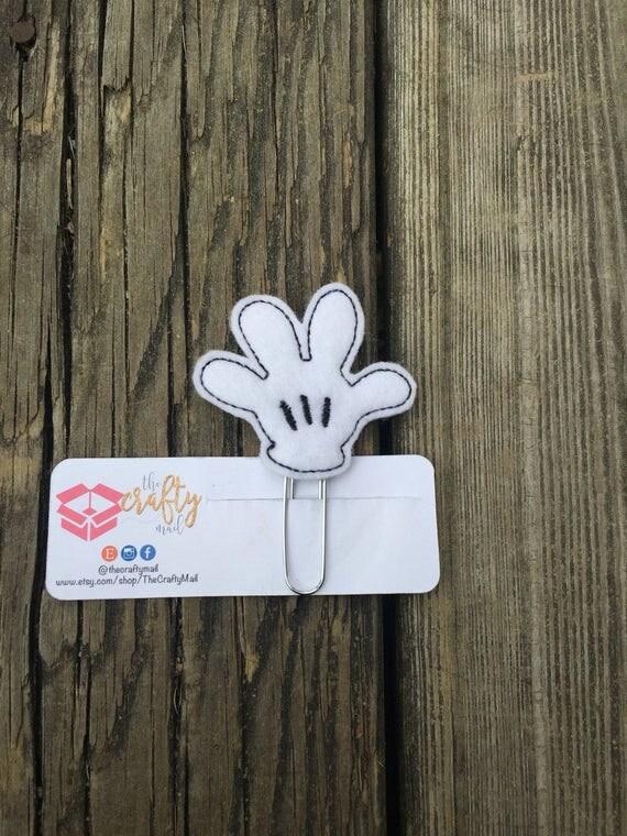Mouse Hand Paper Clip/Planner Clip. Mouse ear planner clip. Mouse planner clip. Mouse glove planner clip