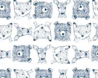 Crib Sheet or Changing Pad Cover | Baby Boy Bedding | Woodland Crib Sheet | Navy White Crib Bedding | Woodland Nursery | Standard or Mini