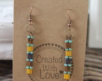 Earrings long beaded boho earrings bohemian gypsy chic dangle earrings gift for her trendy jewelry everyday jewelry brown blue turquoise