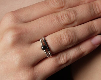 Solitaire Hematite Ring