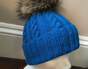 SALE! Cobalt Blue Cable Knit Handmade 100% Cashmere Hat with Raccoon Fur Pom Pom