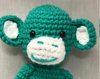 FREE SHIPPING Monkey, Handmade Crochet Stuffed Monkey, Amigurumi Monkey Plushie, Monkey Stuffed Animal, Cute Happy Monkey Stuffed Animal
