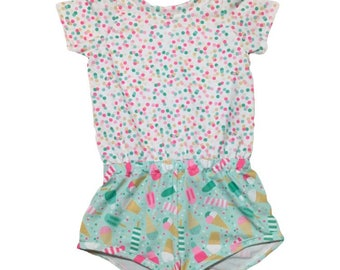 Ice Cream Romper, Sprinkle Romper (newborn romper,baby romper, toddler romper, girls romper, kids romper, bubble romper, shorts romper)