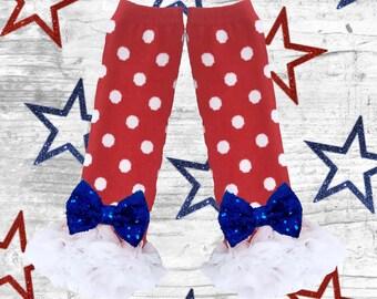 4th f july Baby Bow Ruffle Legwarmers. Toddler 4th of July Legwarmers.