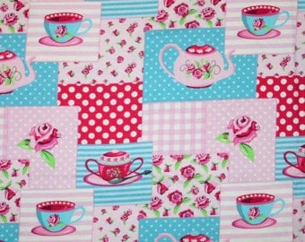 Euro Oeko-Tex Tea Party Patchwork Knit Fabric 1/2 yard