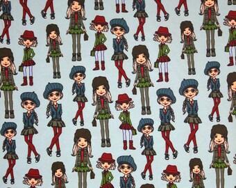 Euro Oeko-Tex School Girl Import Knit Fabric 1/2 yard