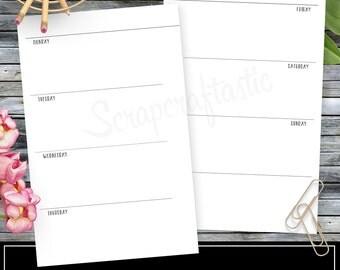 WO2P Horizontal Planner Printable Insert Refill Half Page (A5)  Size - Filofax, Kikki K, ColorCrush
