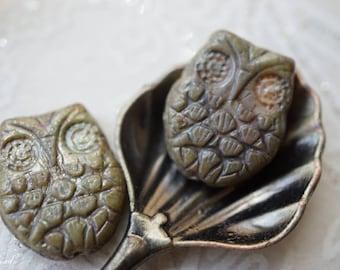 Opaque Owls, Owl Beads, Czech Beads, N1809