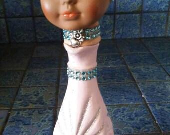 Ooak pink Dollhead candholder or budvase!
