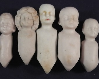 "lot 5x antique dollbodysfor dollhouse dolls, german porcelain, 2.1"" - 2.6"""