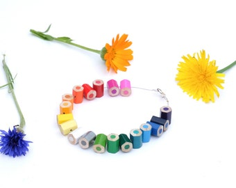 colored pencil bracelet - beautiful rainbow colors - unique teacher gift - lupidupi jewelry