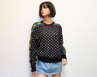 Kennington Black Ski Graphic Knit Sweater